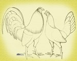 Canvas Rooster and Hen