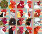 Twenty Rooster Heads