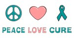 Ovarian Cancer Peace Love Cure T-shirts