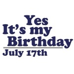 July 17th Birthday T-Shirts & Gifts