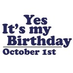 October 1st Birthday T-Shirts & Gifts