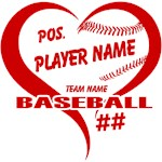 Baseball Heart Player and Team Personalized
