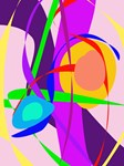 Free Forms and Lines Pink Purple Abstract Painting