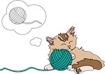 Kitten and Yarn Dream