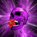 Purple Sugar Skull with Hibiscus Flower