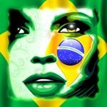 Brazil Flag Girl Portrait