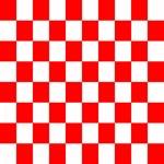 Bright Red and white checkerboard