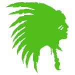 Green Indian Headdress Outline