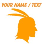 Custom Orange Native American Outline