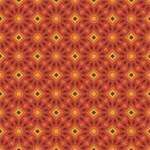 Orange and Yellow Flowers and Diamonds Pattern