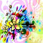 Multi-Color Flowers Against An Abstract Flourish
