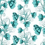 Turquoise and White Vine Flower Pattern