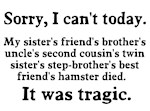 Sorry I can't today hamster died