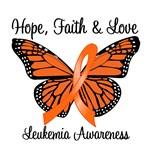 Hope, Faith & Love Leukemia Butterfly T-Shirts