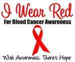 I Wear Red Ribbon Blood Cancer T-Shirts & Gifts