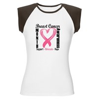 Breast Cancer Month Pink Heart Ribbon Tee Shirts