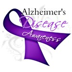 Alzheimer's Disease Purple Ribbon Awareness Shirts
