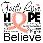 Faith Hope Uterine Cancer Shirts