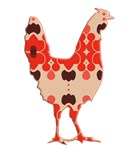 Rooster Silhouette red retro