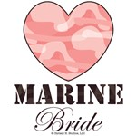 Marine Bride Brown Pink Camo Heart