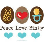 Peace Love Binky Blue Brown Baby Boy