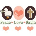 Peace Love Faith Christian Easter T-shirt Gifts