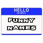 Funny Names on a Hello my name is sticker