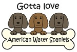 Three American Water Spaniels (Color Varieties)