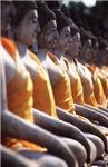 Stone Budhas Meditating in a Row