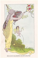 Each carried a long dandelion stem