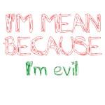 I'm mean because I'm evil