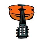 acoustic guitar head on orange.