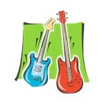 guitar n bass red blue