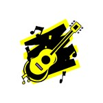yellow abstract acoustic guitar