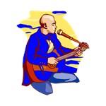 guitar player kneeling bald blue