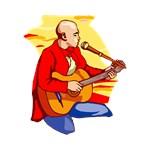 red shirt kneeling guitarist