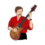 guitarist semihollow guitar red shirt