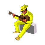 guitar player on amp sitting yellow