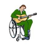 wheelchair guitar player green