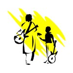 two guitar players outline musician yellow