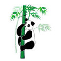 panda with bamboo - chinese painting style