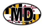 Maryland MD Oval (w/flag)