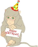 MONKEY with HAPPY BIRTHDAY SIGN
