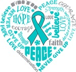 Ovarian Cancer Heart Words Shirts