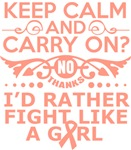 Endometrial Cancer Keep Calm Fight Like A Girl Tee