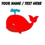 Custom Red Cartoon Whale