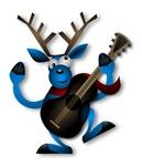 Blue Reindeer Playing Guitar
