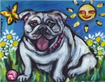 Happy Bulldog w butterfly and smiling sun