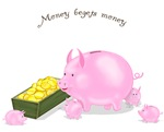 Money Begets Money Piggy Bank Family
