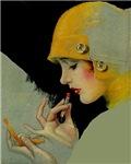 Flapper Putting on Lipstick